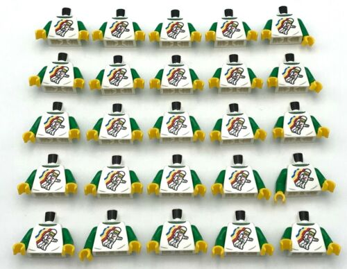 Lego 25 New White Torso Classic Space Minifigure Floating Pattern Green Arms