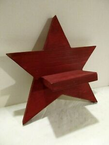 "Star - Handmade Solid Wood Painted Wall Shelf 12""W with 4.5"" X 3""Shelf Maroon"