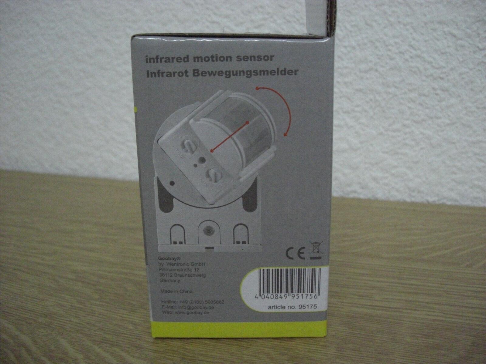 Infrarot Aufputz Bewegungsmelder slim variabler Sensor LED 180° IP44 1-1200 W