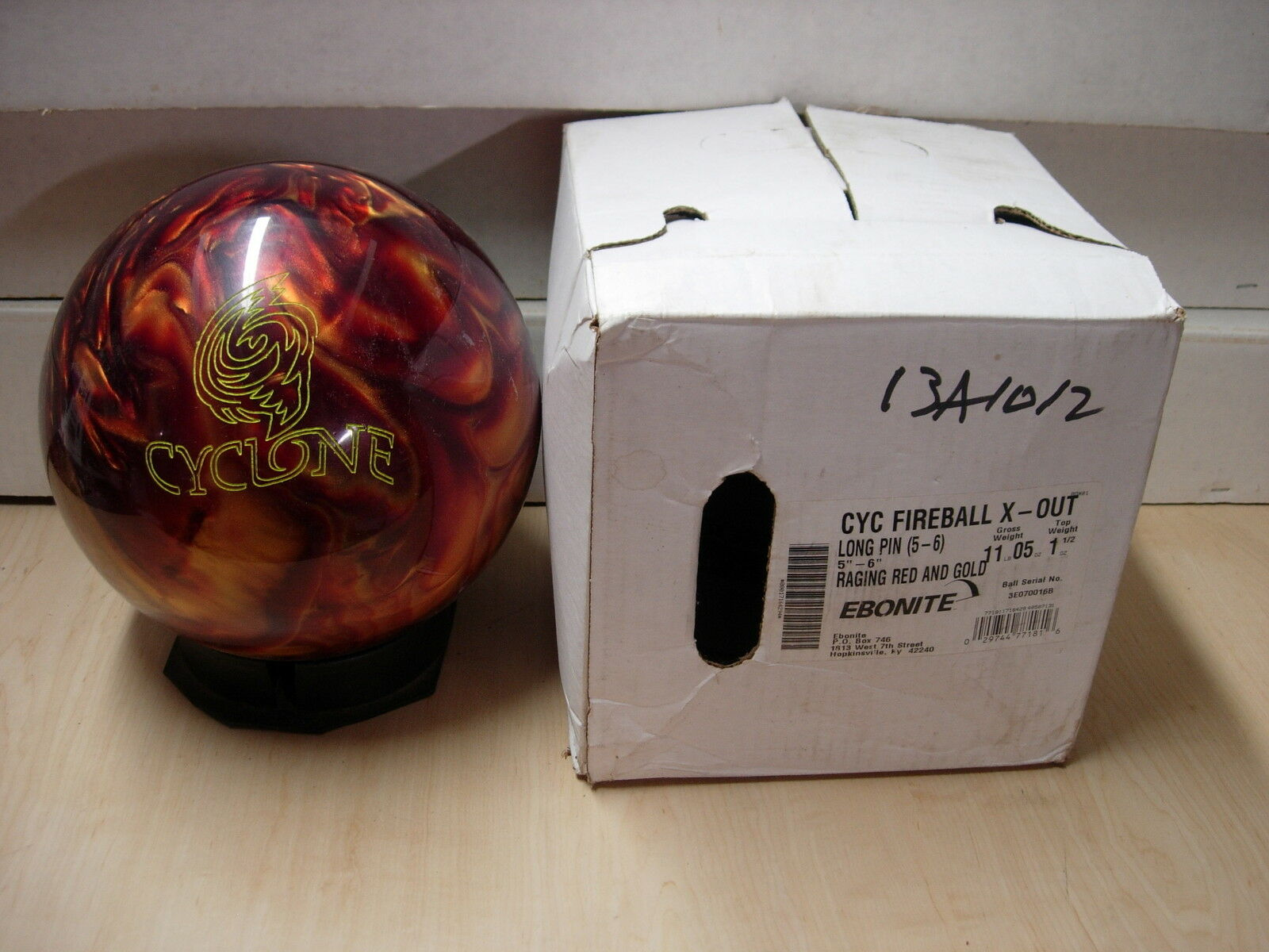 11oz x-out Pin 5-6  Ebonite CYCLONE Raging Red gold NIB for Dr. Frankenstein