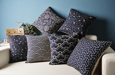 Navy Blue Cloud Floral Flower Geometric Fishscales Cushion Cover Pillow Case