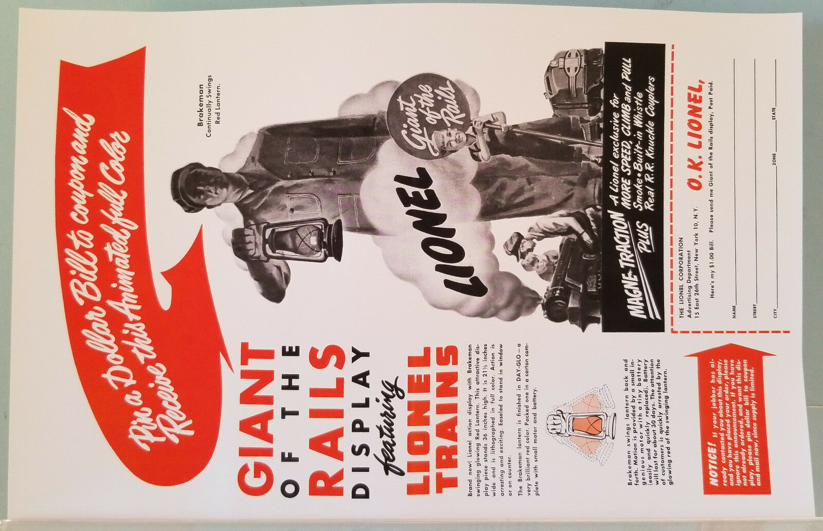 Lionel Giant of the Rails Super Reproduction Rare Dealer Poster 1951