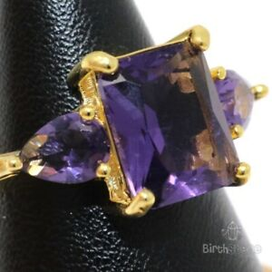 Antique-3CT-Purple-Amethyst-Ring-Women-Birthday-Jewelry-14K-Rose-Gold-Plated