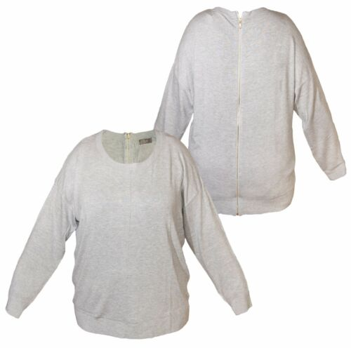 Maglione da donna del sud NUOVO cerniera sul retro manica lunga grigio screziato finitura a costine nuovo con etichetta