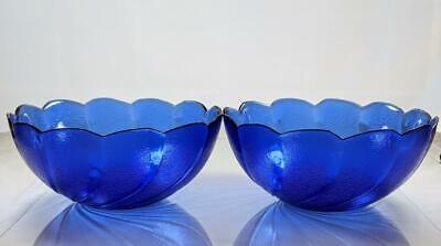 Cobalt Blue Arcoroc Scalloped Swirl Edge Textured Glass Dessert Bowl Set Of 2