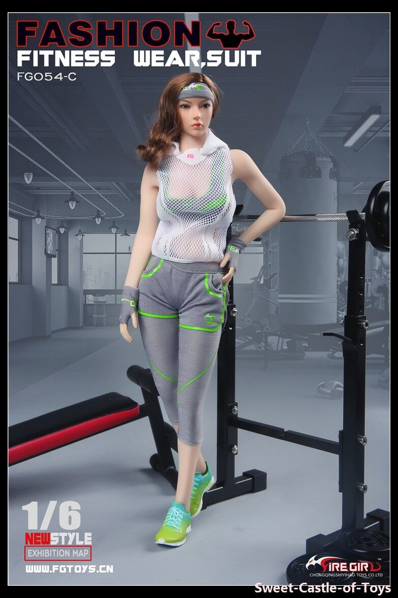 1 6 Fire Girl Toys FG054C Female Fashion Fitness Wear Grey Set For Phicen