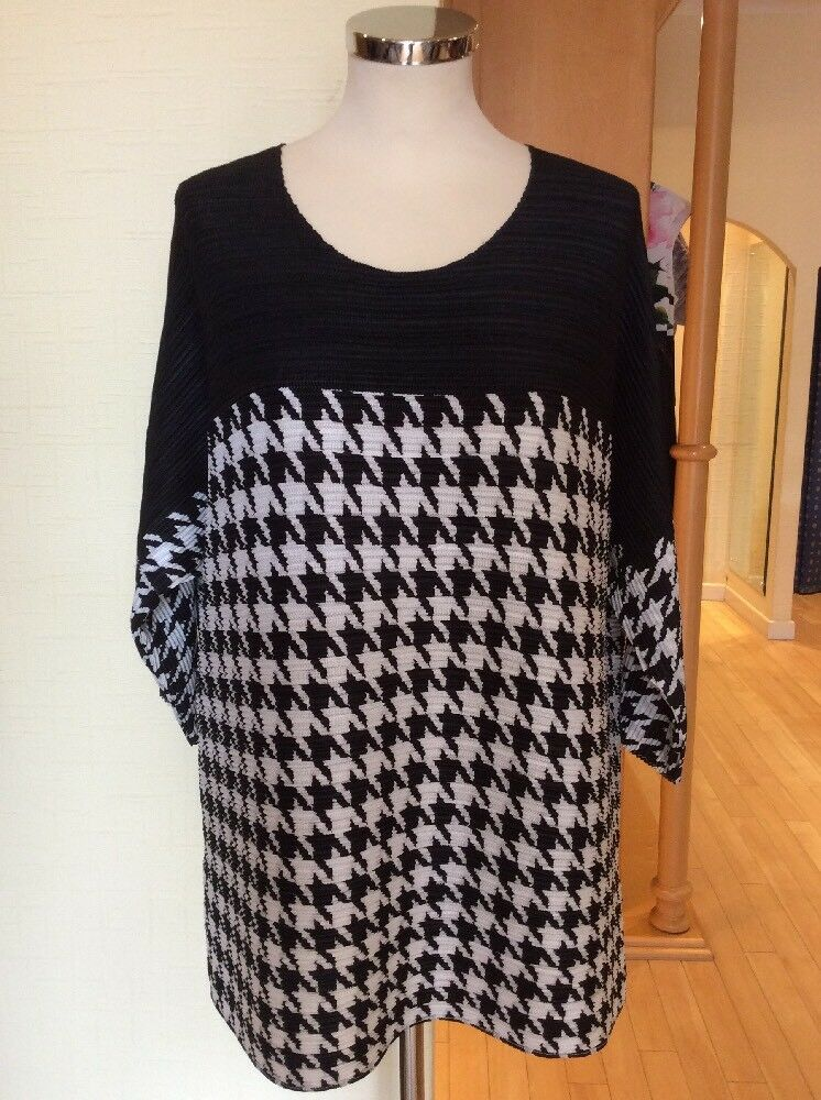 Riani Top Größe 14 BNWT schwarz And Weiß Houndstooth Pleated RRP  Now