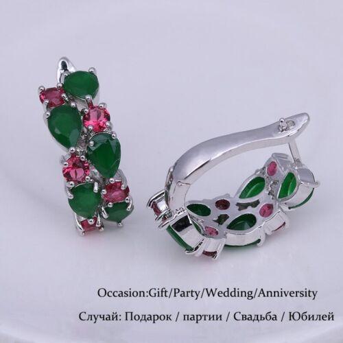 Grün Zirkonia Rund Creolen Wasser Tropfen Silber Weihnachten Geschenke für Sie