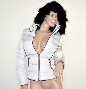 Doudoune-BLANC-femme-manteau-veste-jaquette-blouson-rembourre-coat-fourrure-G55