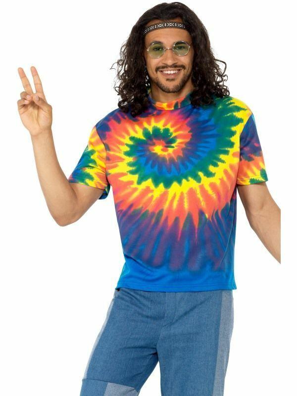Mens 1960s 1970s Tie Dye T-Shirt Adult Hippie Hippy Festival Fancy Dress Costume