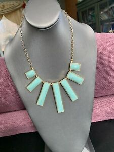 Vintage Necklace Gold Bib statement Faceted Lucite Cabochons milky mint green