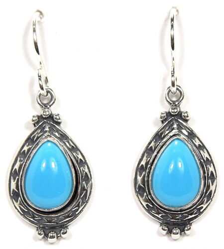Teardrop Sleeping Beauty Turquoise 925 Sterling Silver Dangle Earrings Made USA