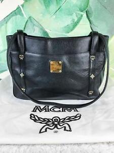 feb16624a6f  850 MCM Black Grain Leather Tote Shoulder Bag Front Logo Zipper ...