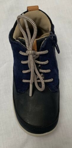 BNIB Clarks Boys Cloud Air FST Navy Leather Air Spring First Boots F//G Fitting