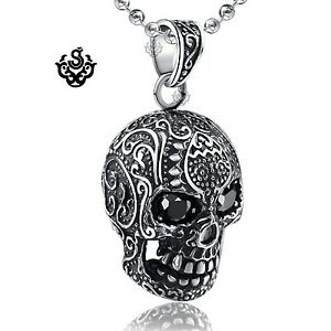Silver-skull-pendant-made-with-swarovski-crystal-black-stainless-steel-necklace