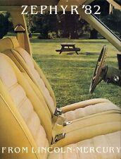 Mercury Zephyr 1982 USA Market Sales Brochure Sedan Z-7 GS