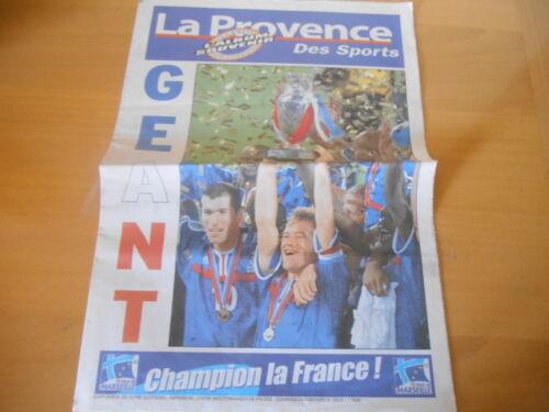 JOURNAL LA PROVENCE DES SPORTS ORIGINAL ÉPOPÉE EQUIPE DE  FRANCE EURO 2000