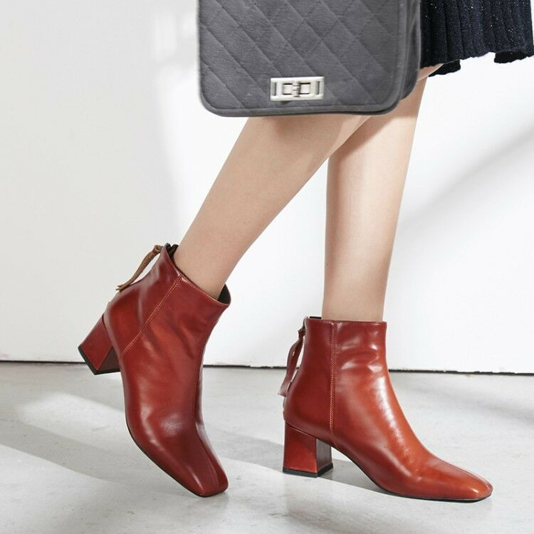 2018 Autumn Winter New Fashion Square Toe Block Heels Womens Leather Ankle Boots