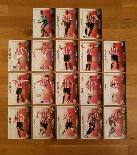 18 Tarjetas-conjunto completo equipo Sunderland Disparar fuera de 2005-2006