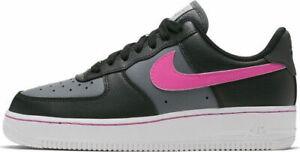 Dettagli su Scarpe sportive donna NIKE Air Force 1 lo pelle nero rosa CJ9699-001