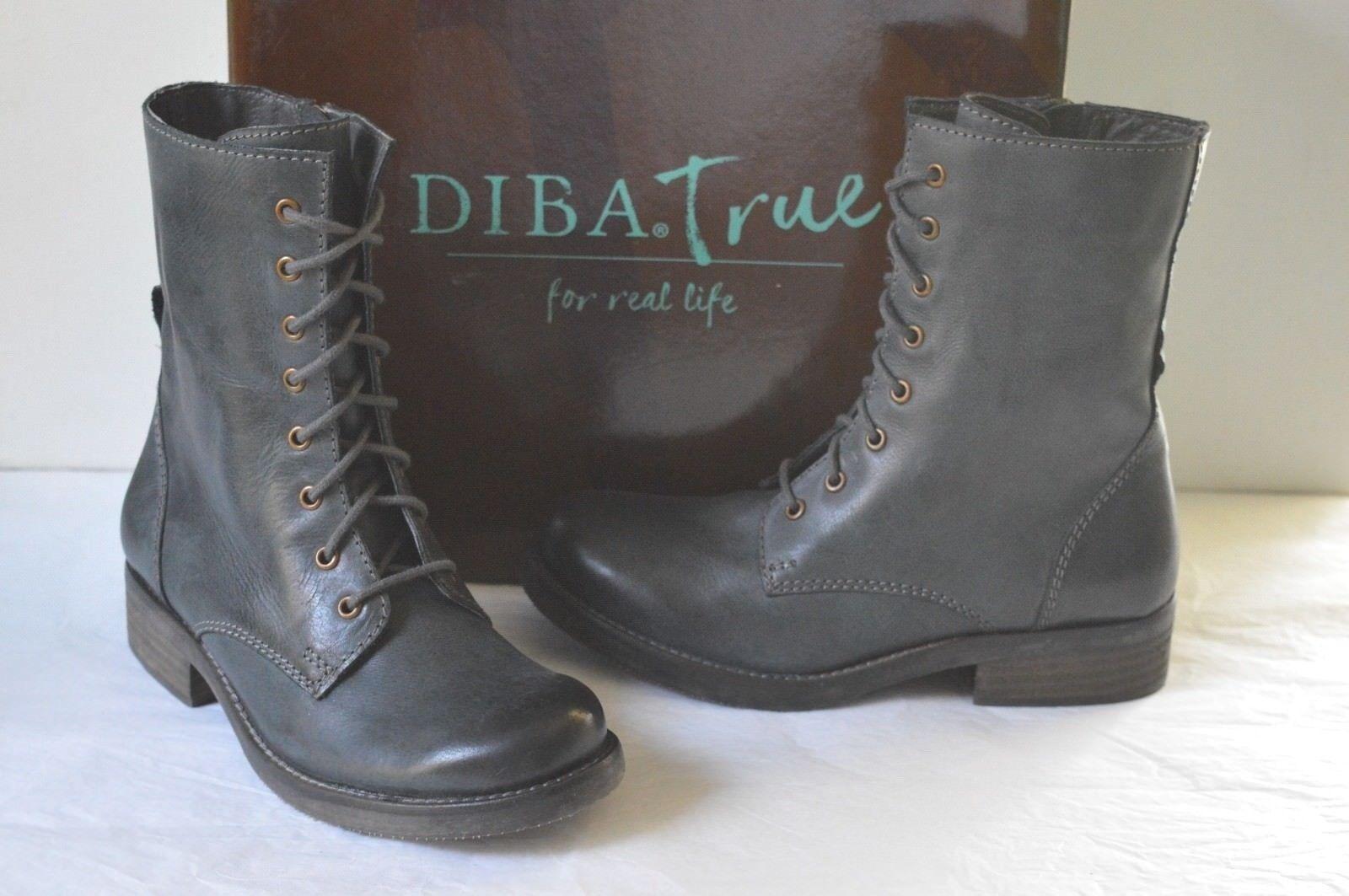 Nuevo  Diba True saltar de nuevo gris Cuero Combate botas Vintage envejecido Laceup