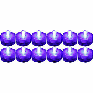 12 Pack PURPLE Submersible Waterproof Underwater Battery LED Tea Light~Wedding