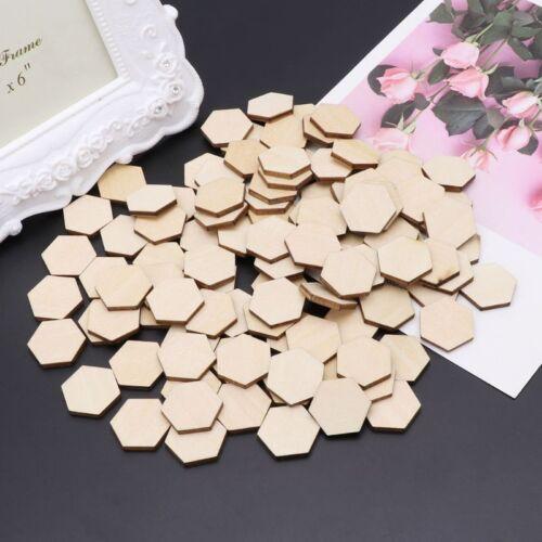 50-200X Hexagon Shaped Wood Cut Embellishment for DIY Jewelry scrapbook craft