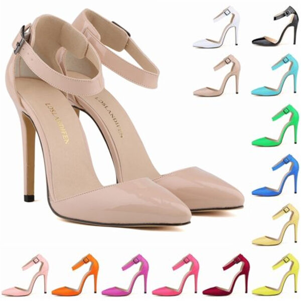 Womens Patent High Heels Strap Corset Sandals Work Pumps Court Shoes Size US4-11
