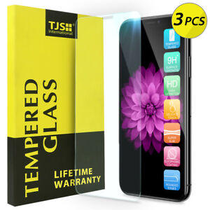 TJS-3-Pack-For-Apple-iPhone-XS-Max-Tempered-Glass-Screen-Protector-Guard
