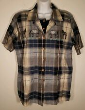 Vintage America Blues Womens Ries Embroidered Plaid Shirt