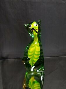 ONE-OF-A-KIND! Vintage Murano Cat Figurine Sommerso Yellow and Green Paperweight