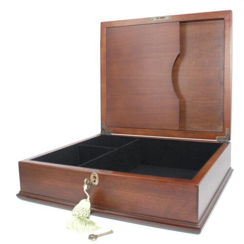 Decor Antique Wood Jewelry Box Treasure Chest  memory Box key and lock