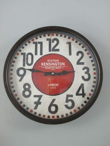 rund D.36cm Geschenk in Vintage Ästhetik Wand Deco Wanduhr Eisen Batterie