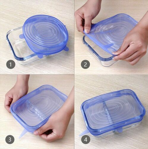 Universal Lid Silicone Stretch Cover Pot Bowl Cup Pan Wrap Food Kitchen 6 pcs