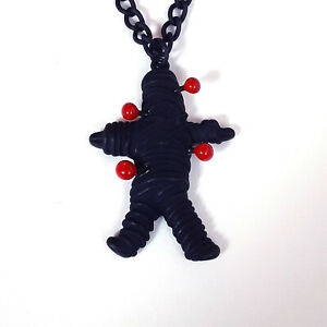 Gothic-Black-Voodoo-Voo-Doo-Doll-Dolly-Necklace-Goth-Heavy-Metal-Horror-80s-90s