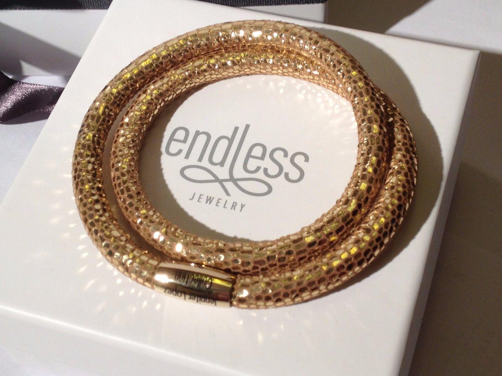 Endless J.Lopez 38cm golden Reptile Bracelet Double Strand Yellow Clasp  rrp