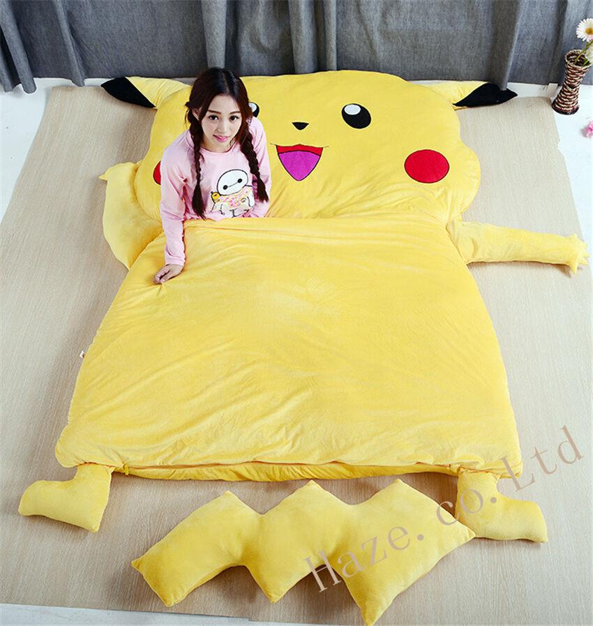 Super lazy sleeping bag single bed mattress Creative Personality Pikachu Tatami