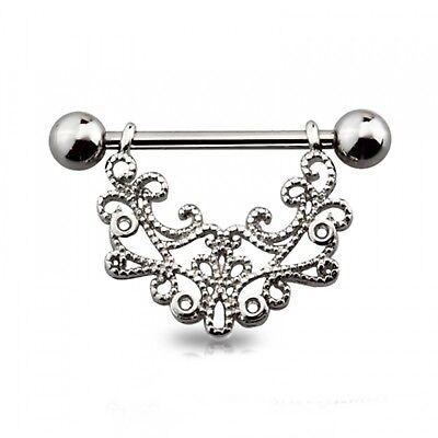 PAIR CZ Center Lacey Filigree Drop Nipple Shields Rings Body Jewelry