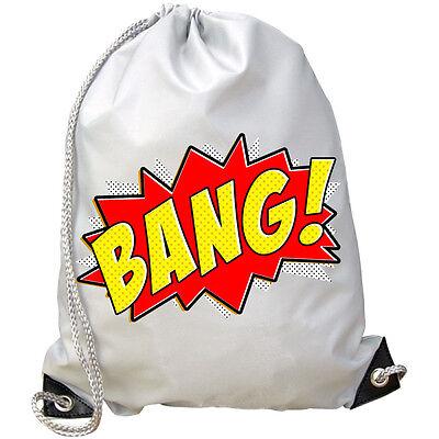 Zap Bang Pow O Qualsiasi Testo / Nome Fumetto Super Eroe Trendy Palestra / Nuoto / Pe Sacchetto-mostra Il Titolo Originale