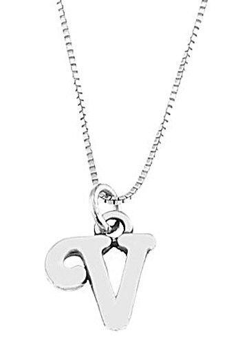 """Sterling Silver Letter V Charm Avec Collier 16/"""""""