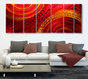 Contemporary-Abstract-Metal-Wall-Art-Hand-Painted-Red-Gold-Harvest-Moods-XL