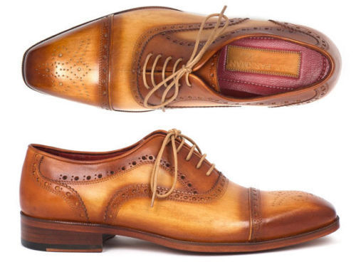 MEN HANDMADE FORMAL CASUAL LEATHER TWO TONE TAN BROWN OXFORD CAPTOE Schuhe