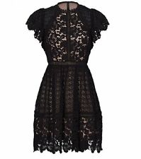 New $695 Rebecca Taylor Black Cotton Lace Embroidered Dress Sz. 2