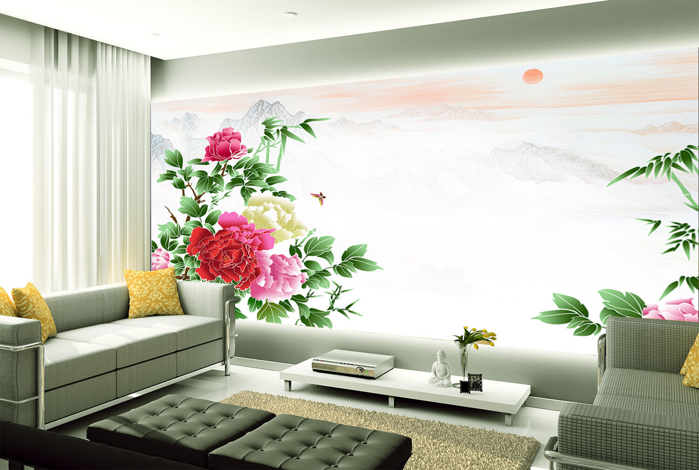 3D Helle Pfingstpink 446 Fototapeten Wandbild Fototapete BildTapete Familie
