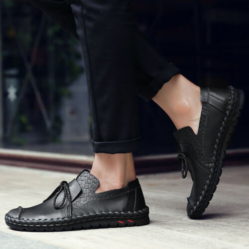 Chic Mens Slip On Loafers Round Toe Flat Heel Leather Driving Casual Shoes New
