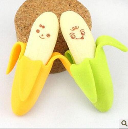 2Pcs ( 1 Set ) Banana Pencil Eraser Rubber Novelty Toy For Children Kids