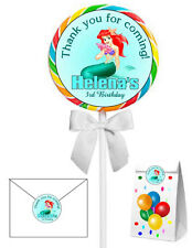 40 LITTLE MERMAID ARIEL BIRTHDAY PARTY LOLLIPOP STICKERS ~ goody bags, seals etc