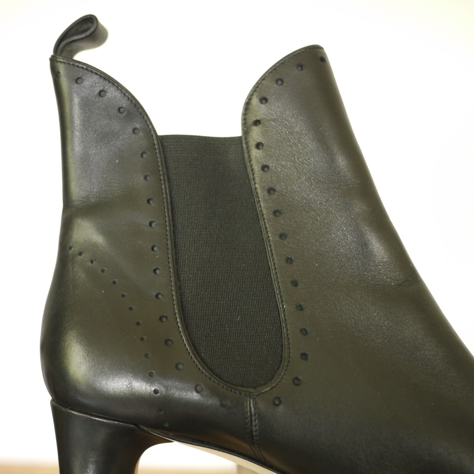 BALLY  Black Leather Wingtip Style High High High Heel Ankle Womens Boots 11 41.5 5dab5a