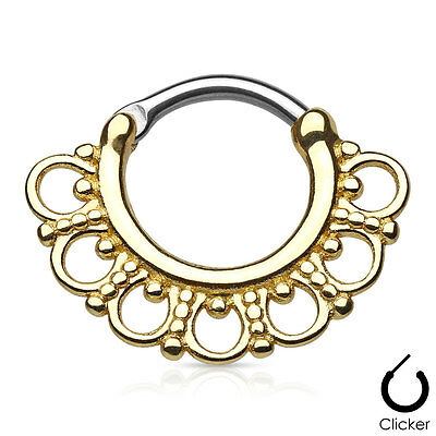 1pc Tribal Fan Septum Clicker 316L Surgical Steel Nose Ring