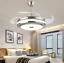 Modern-36-034-Invisible-Ceiling-Fans-with-3-Color-LED-Light-Fan-Chandelier-remote thumbnail 4